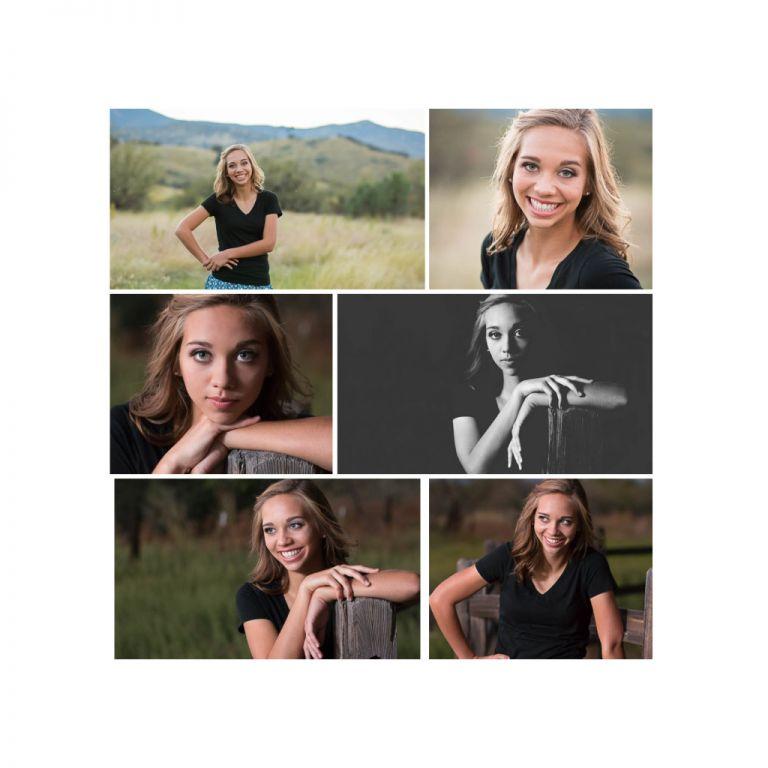 senior girl posing for portrait in black shirt