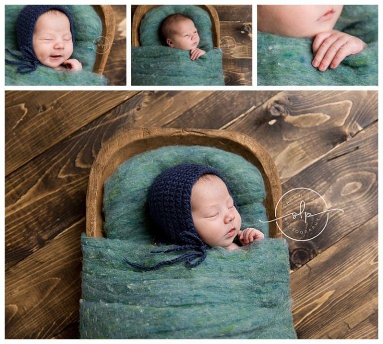 newborn in wooden bowl