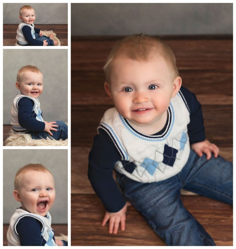 baby boy sitting on floor for pictures