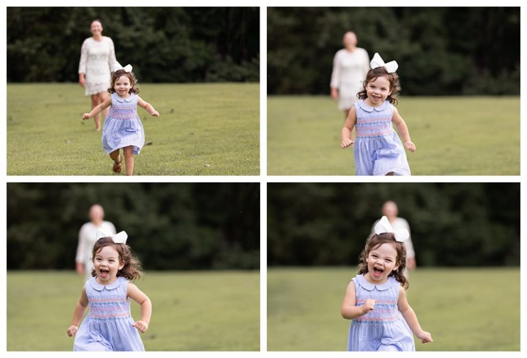 little girl running and giggling