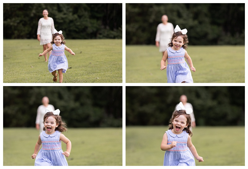 little girl running and giggling