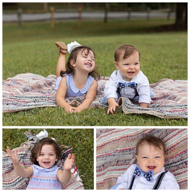 little siblings smiling