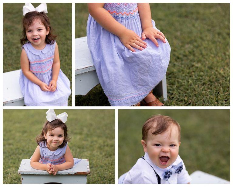 little girl sitting on stool