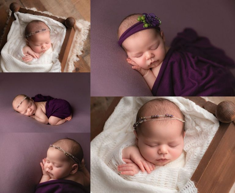 newborn baby girl wrapped in purple